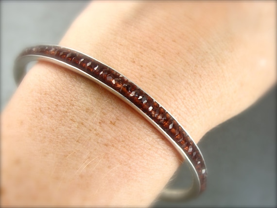 garnet gemstone bangle ... January Birthstone, garnet bracelet, stack bangle, silver bangle, 925, gifts for her