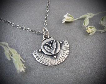 earthing ... handmade sterling silver pendant, gifts for her, layering pendants, flower pendant, leaf pendant, small sterling pendant