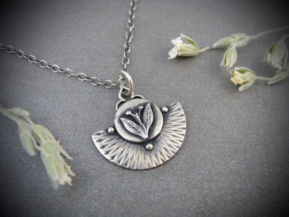 earthing ... handmade sterling silver pendant, gifts for her, layering pendants, flower pendant, leaf pendant, small sterling pendant