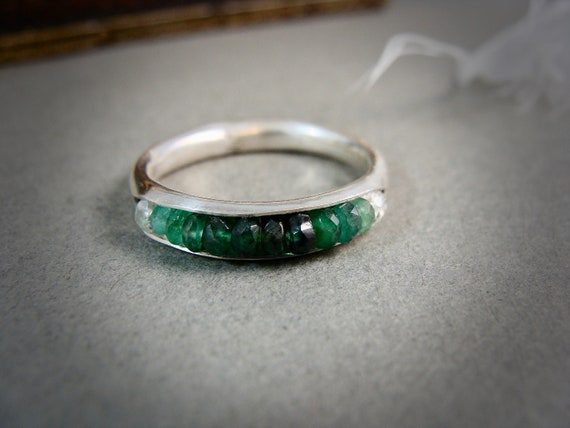 emerald ombre .... stacking ring,  May birthstone ring, emerald ring, handmade ring, sterling silver ring, gemstone stacking ring, gifts