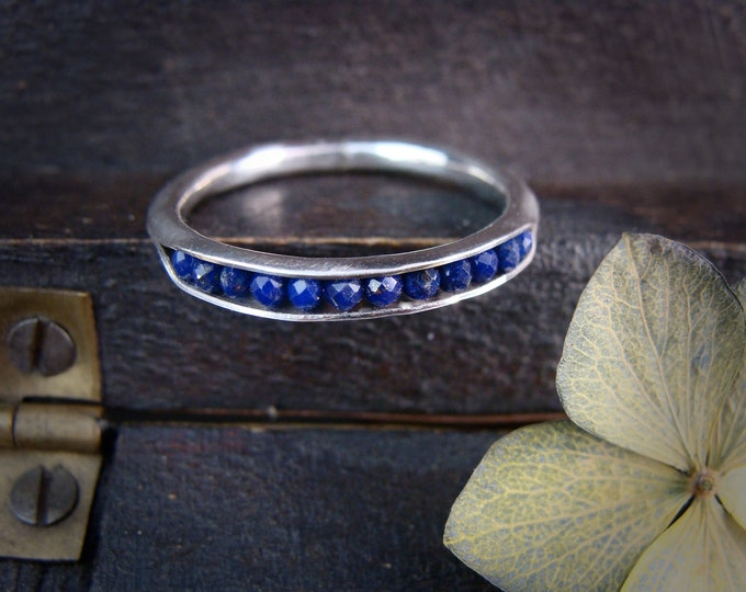 lapis lazuli stacking ring...  gemstone stack ring, silver stackable ring, lapis band ring, gifts for her, handmade ring, rings for women