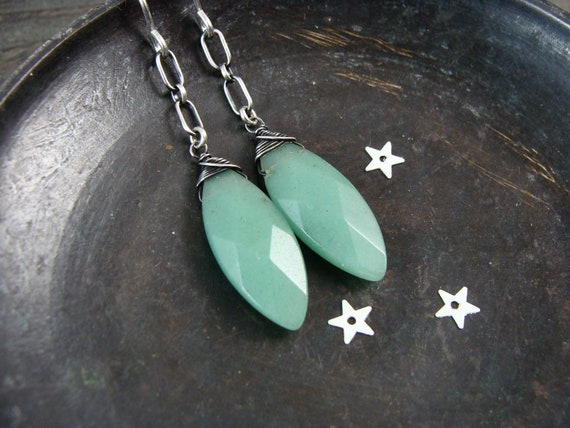 jadeite dangles ...gemstone earrings, sterling silver dangles, jadeite jewelry, jadeite dangles, Art Deco jewelry, gifts