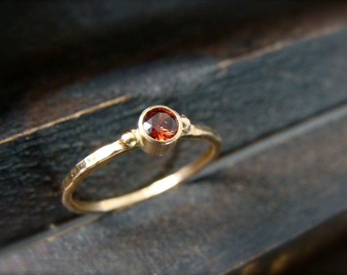 tiny fire spirit ... solid 14k gold garnet stack ring, January birthstone ring, hammered gold ring