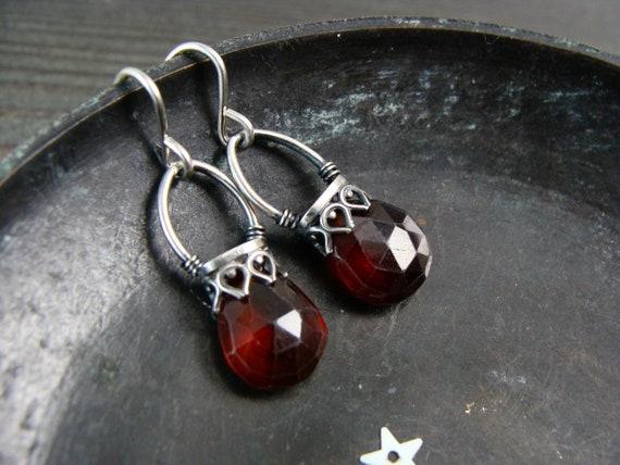 garnet lantern earrings.. garnet dangles, garnet jewelry, garnet earrings, sterling garnet earrings, December birthstone jewelry, gifts