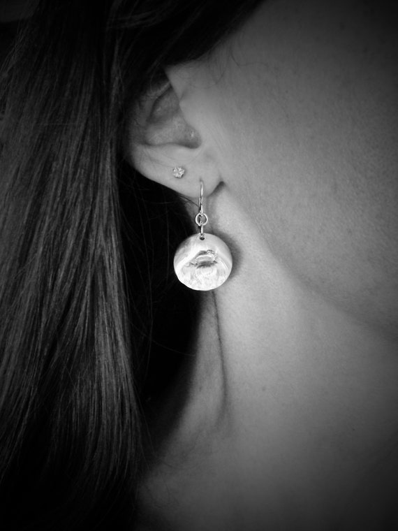 large thumb print ... sterling silver disc dangles, handmade jewelry, gifts for her