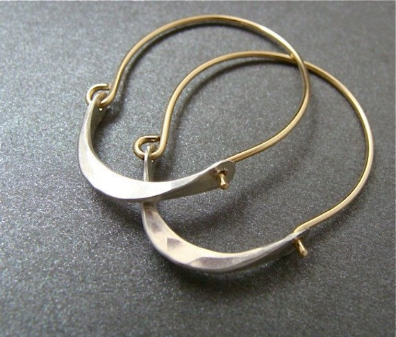 minimalist ... 14k gold filled and sterling silver hoops, handmade jewelry, simple hoops, mixed metal hoops, modern hoops, gifts for her