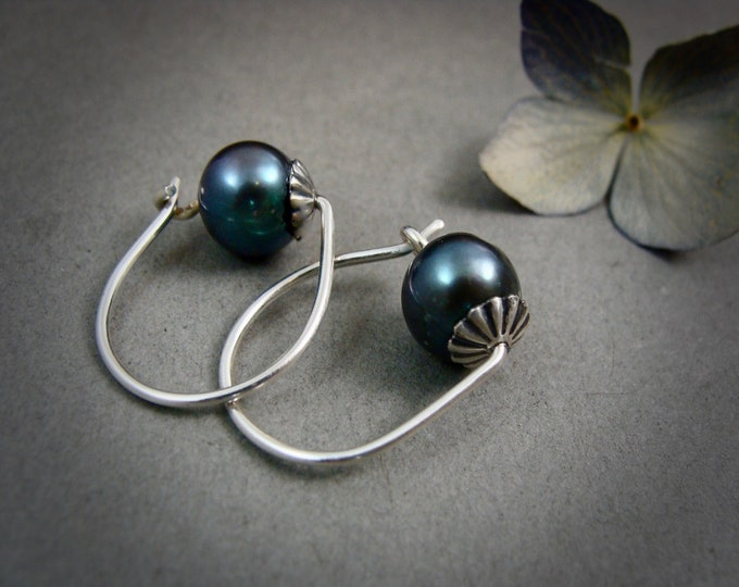 rose bud ... sterling silver hoops, Tahitian black pearl pearl hoops, small hoops, Bridesmaid gifts, classic pearls, gifts for her