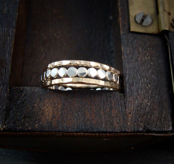 power of three … mixed metal stacking rings set, stackable rings, hammered stack rings, handmade rings, gold and silver rings