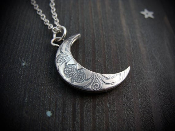 changeable moon ... sterling silver crescent moon pendant, moon necklace, reversible patterned pendant, celestial jewelry, gifts for her