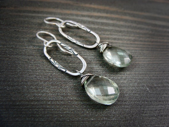 green amethyst dangles.. gemstone earrings, gemstone dangle, handmade jewelry, gifts for her.