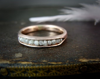 raw diamond rock candy ring .. solid 14k rose gold