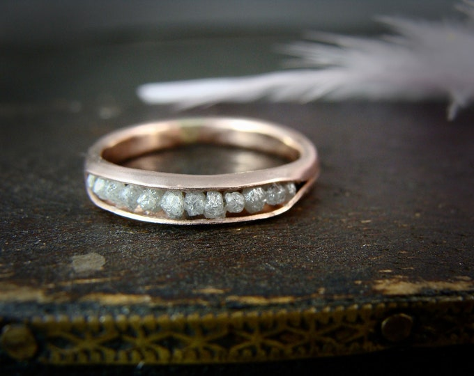 raw diamond rock candy ring .. solid 14k rose gold diamond ring, raw diamond ring, raw diamond band ring