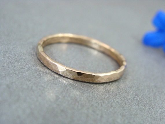 glimmer ... solid 14k gold stack ring, 14k gold Wedding band, hammered gold band, simple gold ring, gifts for her