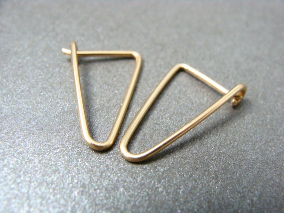 simple geometry ... 14k gold filled earrings, geometric earrings, gifts for her, simple earrings, triangle hoops, small gold hoops