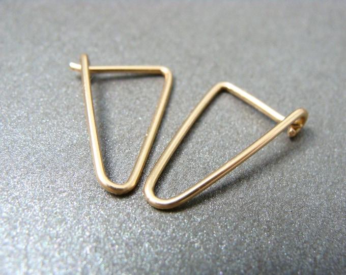 simple geometry ... 14k gold filled earrings, geometric earrings, gifts for her, simple earrings, triangle hoops, small gold hoops
