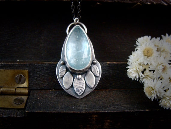 efflorescence .. aquamarine and sterling silver pendant, March Birthstone, aquamarine pendant, silversmith pendant, gifts for her