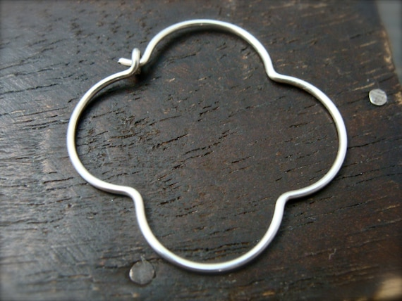 silver gothic hoops ... sterling silver clover earrings, gifts for her, silver hoops