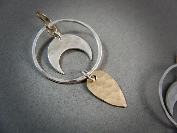 subtle alchemy ... mixed metal dangles, handmade jewelry, crescent moon jewelry, celestial jewelry, gifts for her