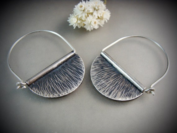 wedge hoops ... hammered sterling silver hoops, large hoops, oxidized hoops, sterling silver earrings, siren jewels, gifts for her