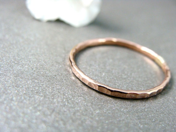 petite solid 14k rose gold stack ring, gold band ring, hammered gold ring, gifts for her