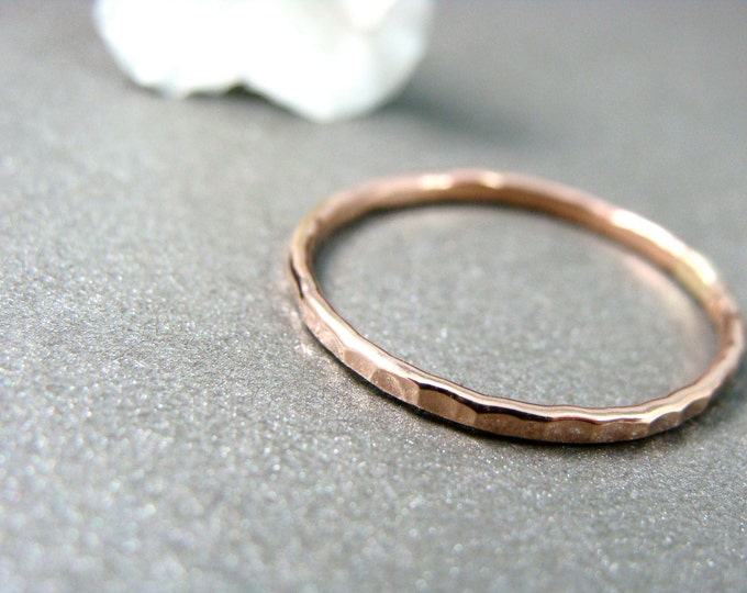 petite solid 14k rose gold stack ring... gold band ring ,1 mm hammered gold ring, gifts for her, 14k rose gold stack ring
