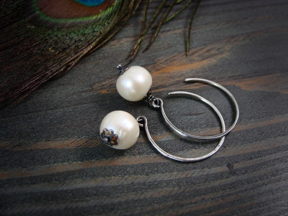 pearl droplets ... sterling silver hoops, Tahitian black pearl pearl hoops, small hoops, Bridesmaid gifts, classic pearls, gifts for her