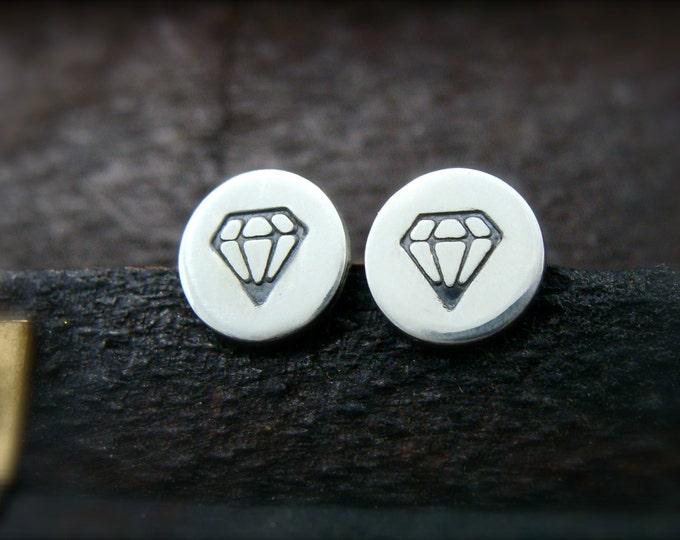 diamond studs... sterling silver post earrings, handmade jewelry, small earrings, petite earrings, diamond earrings, gifts for her