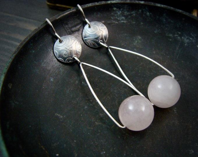 swing set...rose quartz dangles, silver earrings, long dangles, gifts for her