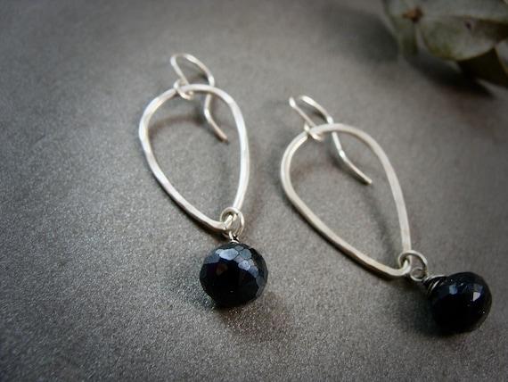 swing set ... micro faceted hematite dangles, gemstone earrings, simple jewelry, gifts for her, gemstone dangles