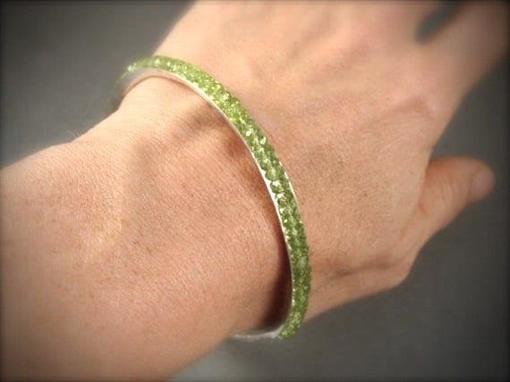 peridot skinny stack bangle ... gemstone bangle, stack bangle, August birthstone, silver bangle, peridot bangle, 925, gifts for her