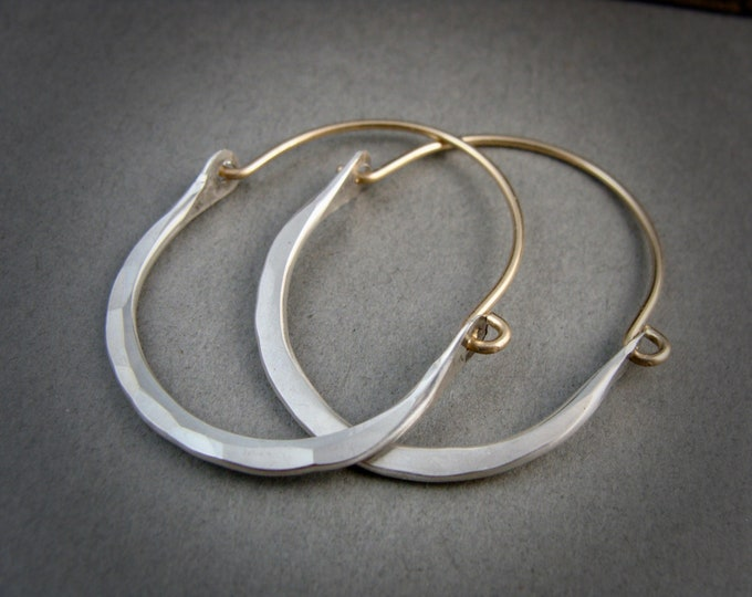 large minimalist ... sterling and gold filled hoops, mixed metal hoops, handmade jewelry, gifts for her