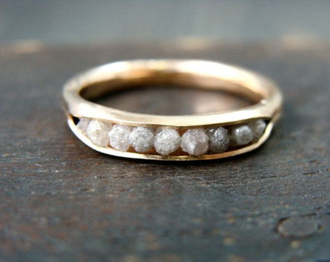 raw diamond rock candy ring .. solid 14k gold ring, diamond band ring, conflict free diamonds, gifts for her