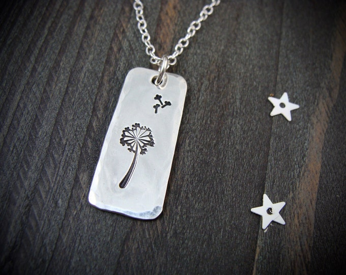 a simple wish ... sterling silver pendant, dandelion pendant, layering pendants, gifts for her, handmade jewelry