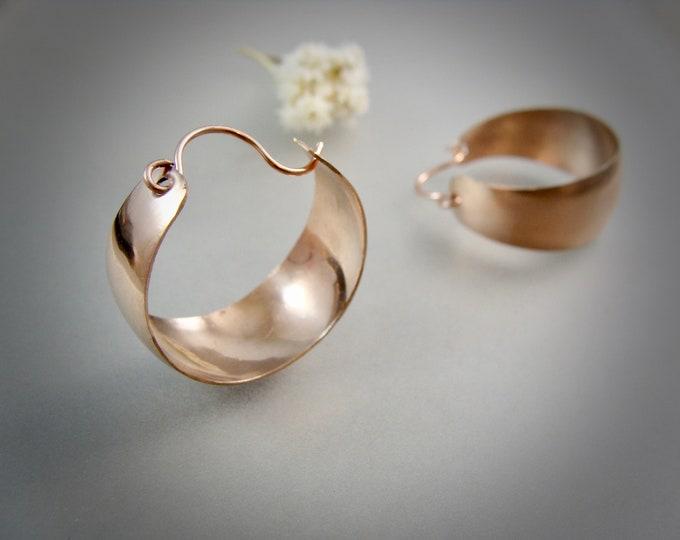 golden hallowed hoops ... 14k rose gold fill hoops, lightweight hoops, handmade jewelry, wide hoops, gifts for her, metalsmith hoops