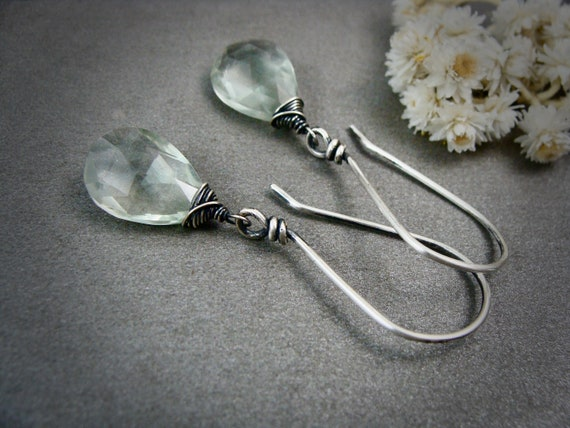 green amethyst dangles.. gemstone earrings, gemstone dangle, handmade jewelry, gifts for her.