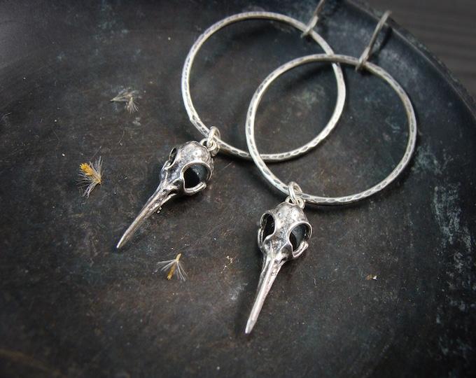 skull hoops ... sterling silver hoops, handmade jewelry, bird skull earrings, silver hoops, silver animal skull hoop, gifts for her