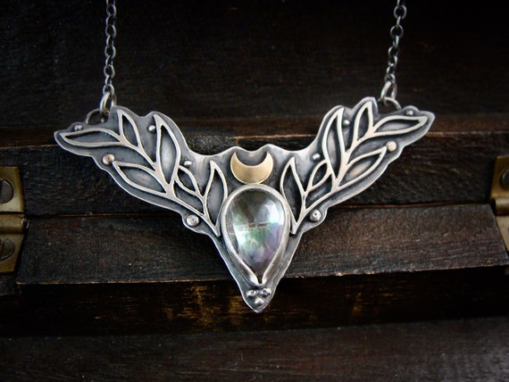 the huntress II... Mystic quartz and sterling silver pendant, artisan jewelry, boho jewelry,gifts for her