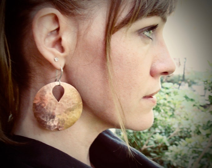 copper moon ... large copper discs, statement earrings, handmade jewelry, gifts for her