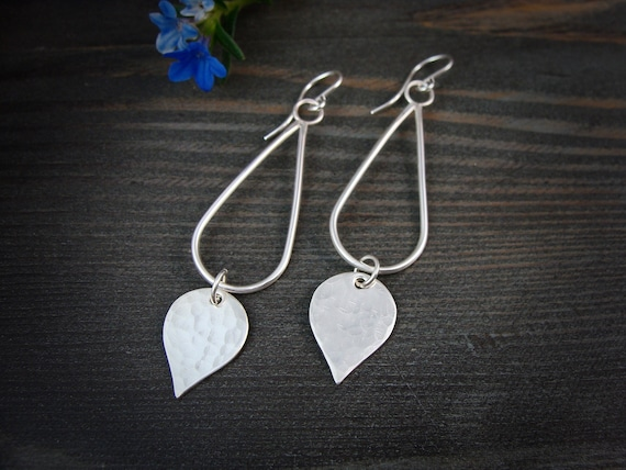 rain dagger ... sterling silver dangles, handmade jewelry, long dangles, hammered silver dangles, gifts for her
