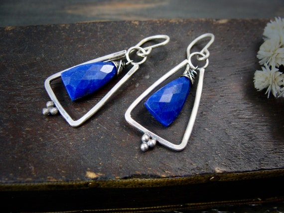 lapis pyramid ... sterling silver and lapis dangles, lapis lazuli earrings, triangle earrings, handmade jewelry, silver dangles, gifts