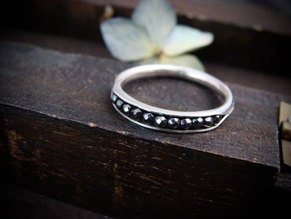 petite hematite sterling stack ring, stacking rings, gemstone stack rings, silversmith ring, petite gemstone stack ring, stackable rings