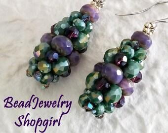 Jade and Purple Beaded Bead Earrings, Pod Shape