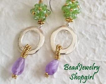 Green Crystal, Silver Circle and Purple Gemstone Drop Dangling Earrings