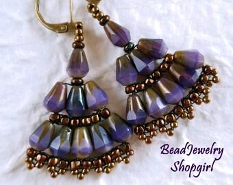 Purple Beaded Fan Earrings, Beadwoven Dangling Earrings