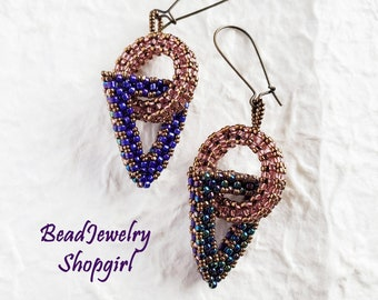 Beaded Circle and Beaded Triangle Earrings, 3 Dimensional Beadwoven, Multi-Color Dangling Earrings