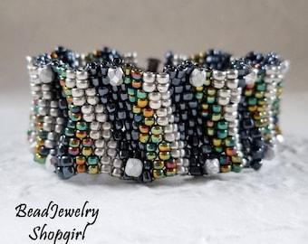 Let's Make Some Waves Peyote Cuff Bracelet
