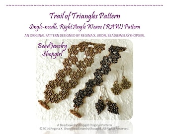 PATTERN TUTORIAL - Trail of Triangles Right Angle Weave (RAW) Bracelet, Super Duo or Twin Beads - Digital Download