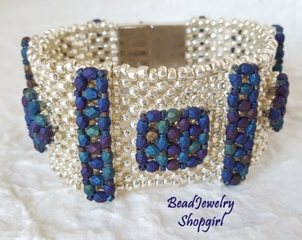 In High Relief Bracelet - bold embellished beadwoven cuff