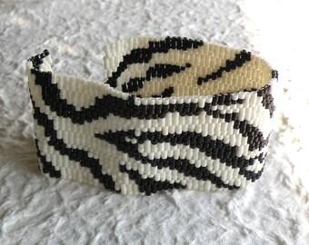 Zebra Peyote Cuff Bracelet