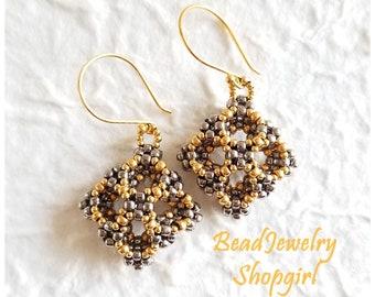 Convex Square Beaded Earrings, 3 Dimensional Beadwoven, Gunmetal and Gold Tone, Dangling Earrings